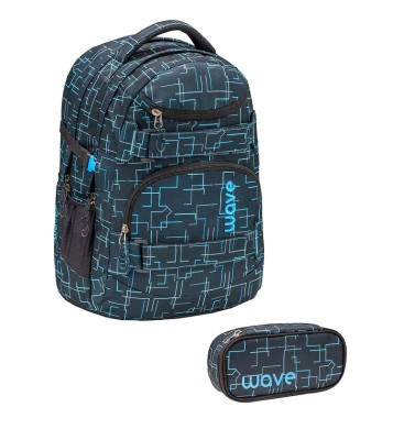 Infinity Rucksack Wave Cubic Neon Blue Set 1