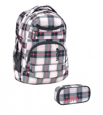 Infinity Rucksack Wave Red Grey Pattern Set 1