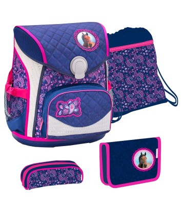 BELMiL Schulranzen Cool Bag Blue Riding Horse Set 4 tlg.