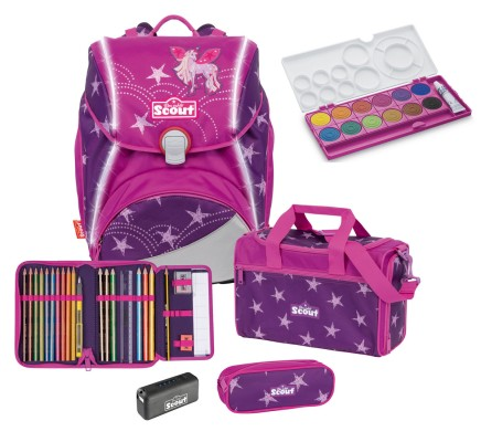 Scout Schulranzen Alpha Safety Light Exklusiv Set 4 tlg. Unicorn Star + gratis Farbkasten