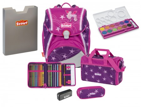 Scout Schulranzen Alpha Safety Light Exklusiv Set 5 tlg. Unicorn Star + gratis Farbkasten