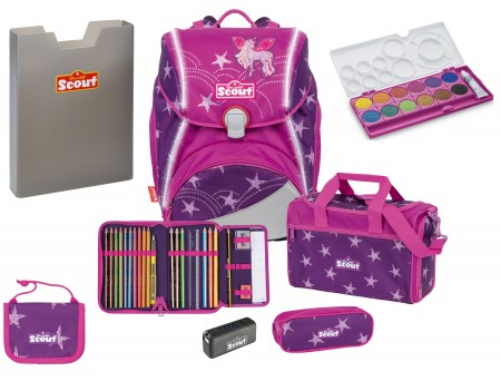 Scout Schulranzen Alpha Safety Light Exklusiv Set 6 tlg. Unicorn Star + gratis Farbkasten