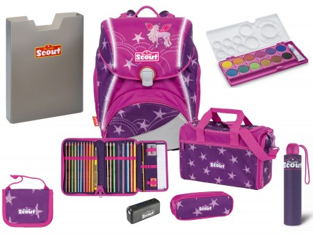 Scout Schulranzen Alpha Safety Light Exklusiv Set 7 tlg. Unicorn Star + gratis Farbkasten