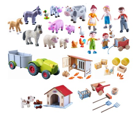 Haba Little Friends Bauernfamilie + Tiere Set 54 tlg.