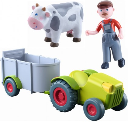 Haba Little Friends Traktor mit Anhänger Set 2