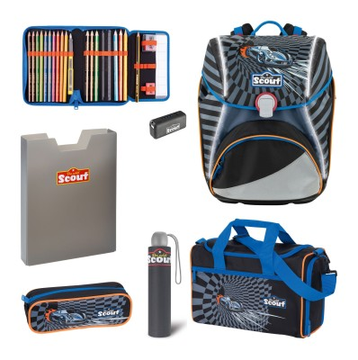 Scout Schulranzen Alpha Safety Light Exklusiv Set 5 tlg. Power Car + gratis Regenschirm