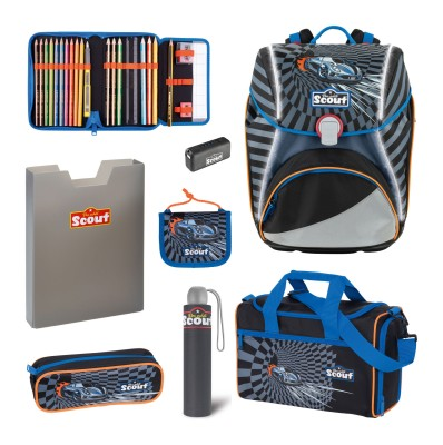 Scout Schulranzen Alpha Safety Light Exklusiv Set 6 tlg. Power Car + gratis Regenschirm