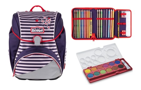 Scout Alpha Happy Stripes Schulranzen Set 2 tlg. + gratis Farbkasten