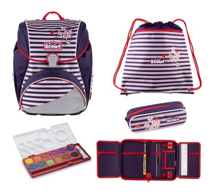 Scout Alpha Happy Stripes Schulranzen Set 4 tlg. + gratis Farbkasten