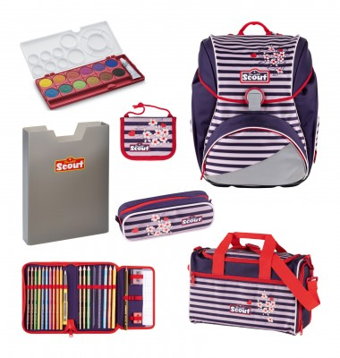 Scout Alpha Happy Stripes Schulranzen Set 6 tlg. + gratis Farbkasten