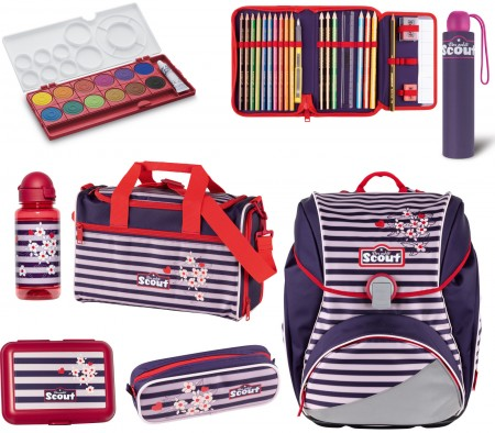 Scout Alpha Happy Stripes Schulranzen Set 7 tlg. + gratis Farbkasten