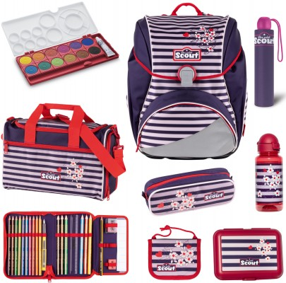 Scout Alpha Happy Stripes Schulranzen Set 8 tlg. + gratis Farbkasten