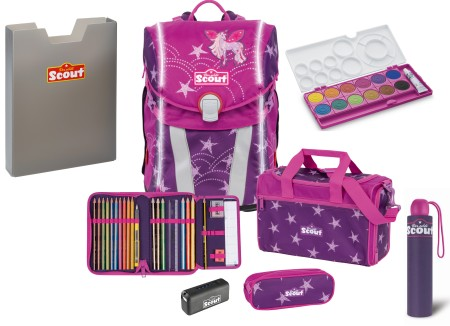 Scout Schulranzen Sunny Safety Light Exklusiv Set 6 tlg. Unicorn Star Set 2 + gratis Farbkasten