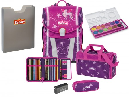 Scout Schulranzen Sunny Safety Light Exklusiv Set 5 tlg. Unicorn Star + gratis Farbkasten